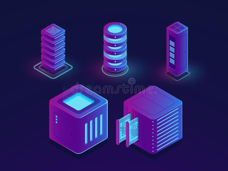 Satz Technologieelemente, Serverraum, Wolkendatenspeicherung, zukünftiger Datenwissenschaftsfortschritt wendet isometrischen Vekt lizenzfreie abbildung