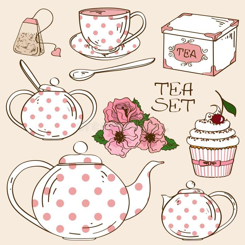 Satz Teeservice-Ikonen stock abbildung