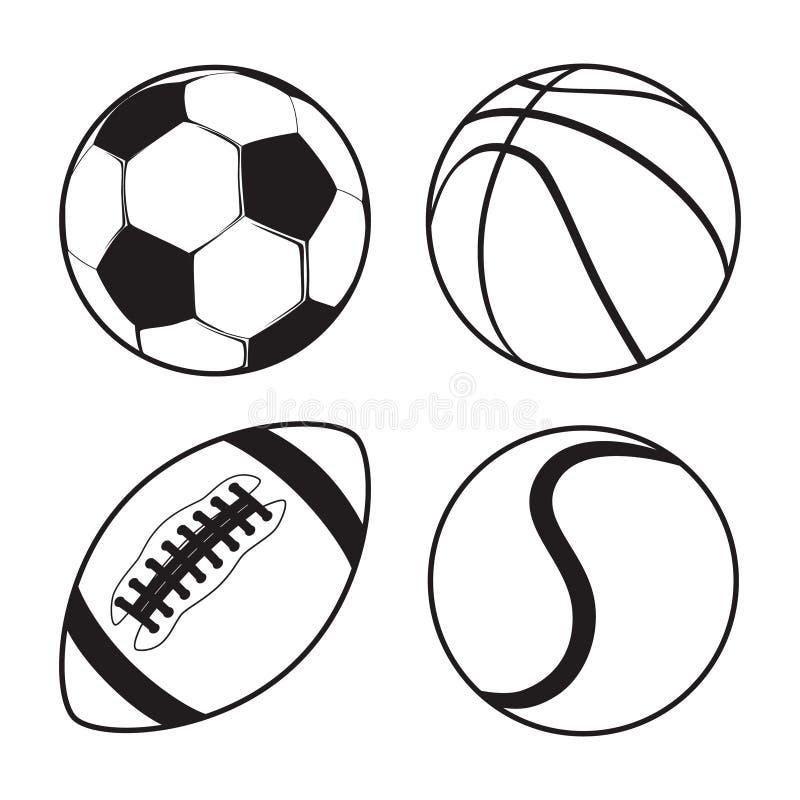 Satz Tennis des Sportbälle Fußball-Basketball-amerikanischen Fußballs lizenzfreie abbildung