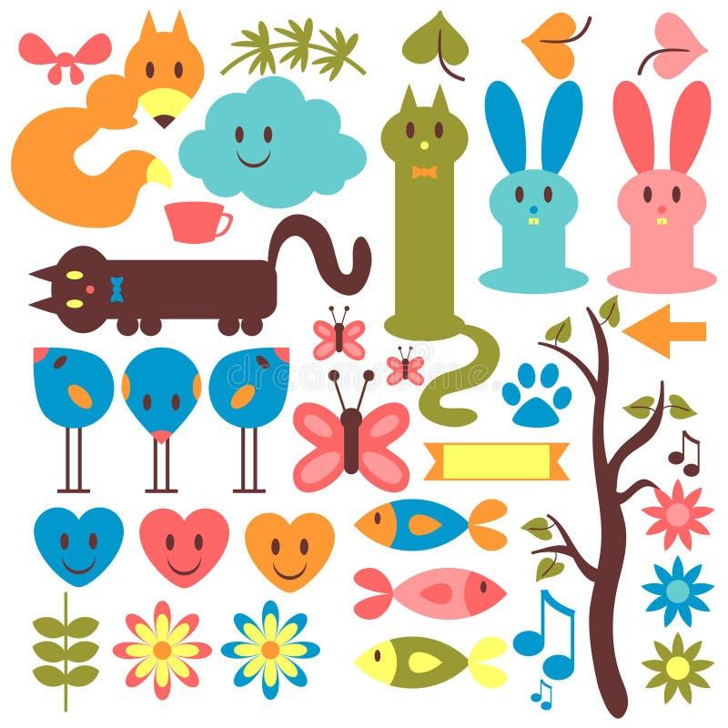 Satz Tiere und Florenelemente stock abbildung