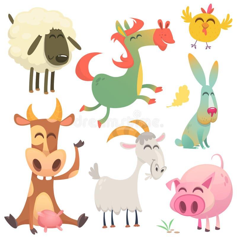 Satz Tiere und Vögel mit einem Bauernhof in einer Karikaturart Auch im corel abgehobenen Betrag ow, Pferd, Huhn, Häschen, Schwein lizenzfreie abbildung