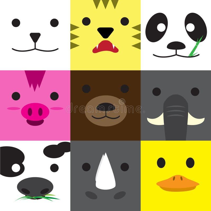 Satz Tiergesichter lizenzfreie abbildung