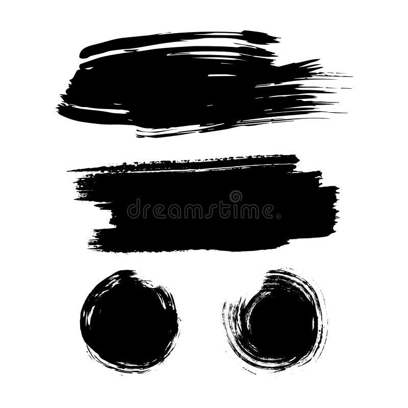 Satz Tintenbürsten-Anschlagflecke Schmutz-Farbenstreifen Beunruhigte Fahne Schwarze Malerpinselsammlung stock abbildung