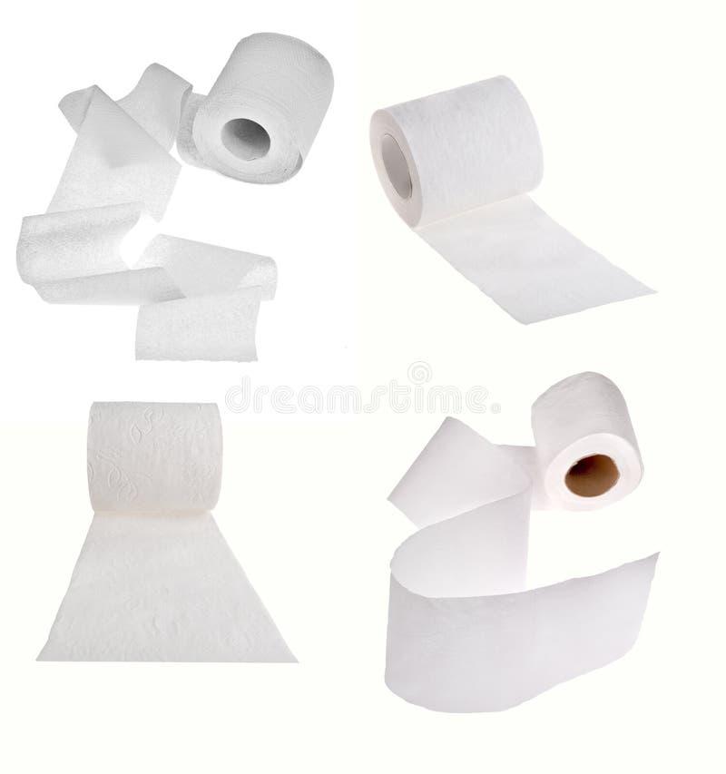 Satz Toilettenpapierrollen lokalisiert auf Weiß lizenzfreie stockfotos