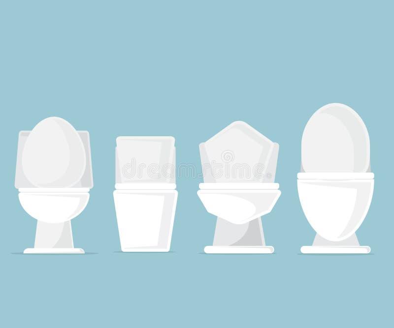 Satz Toilettenschüsseln im Badezimmer lizenzfreie abbildung