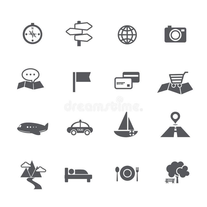 Satz Tourismus und Reise zeichnen Navigationsikonen-Vektor illustratio auf lizenzfreie abbildung
