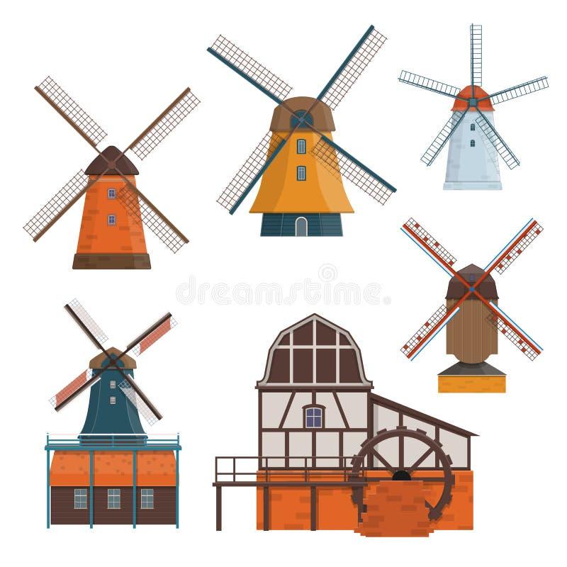 Satz traditionelle ländliche Windmühle und watermill lizenzfreie abbildung