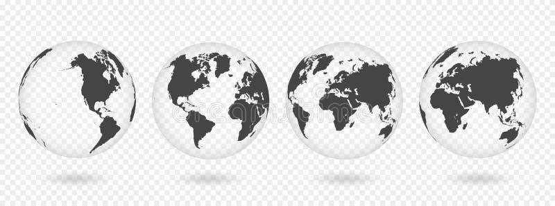 Satz transparente Kugeln von Erde Realistische Weltkarte in der Kugelform mit transparenter Beschaffenheit und Schatten lizenzfreie abbildung