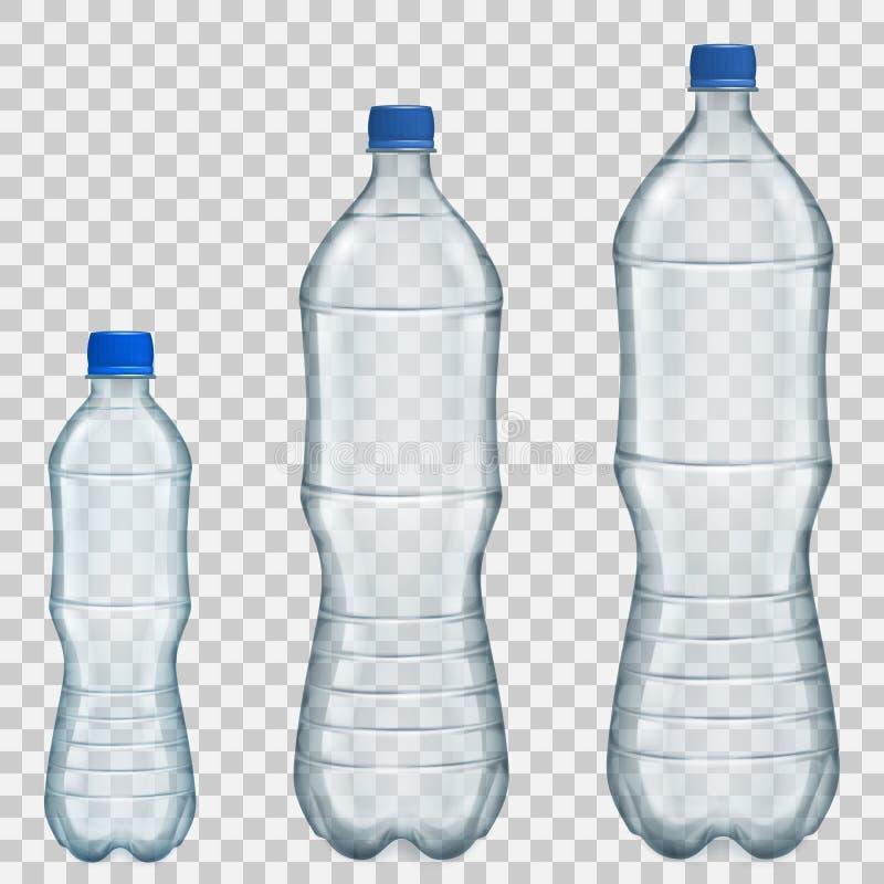 Satz transparente Plastikflaschen verschiedene Größen mit Mineral stock abbildung