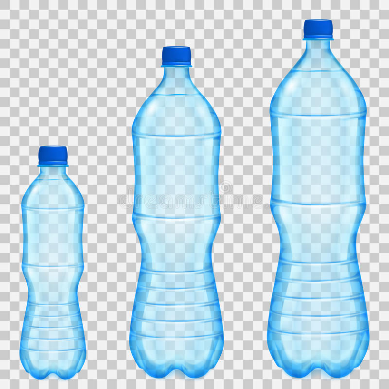 Satz transparente Plastikflaschen verschiedene Größen mit Mineral lizenzfreie abbildung