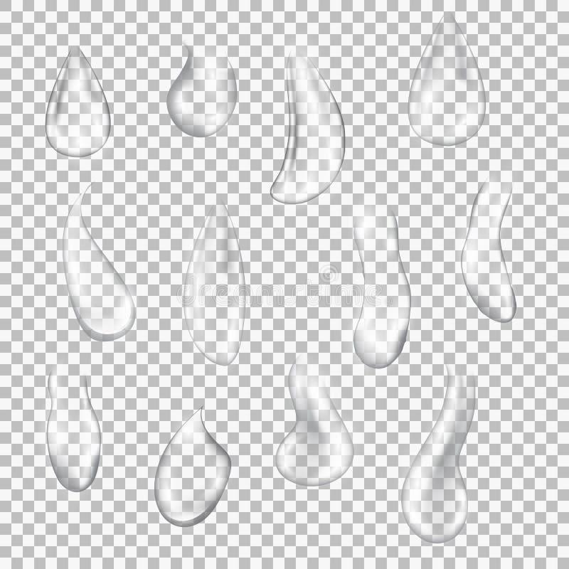 Satz transparente Tropfen von verschiedenen Formen stock abbildung