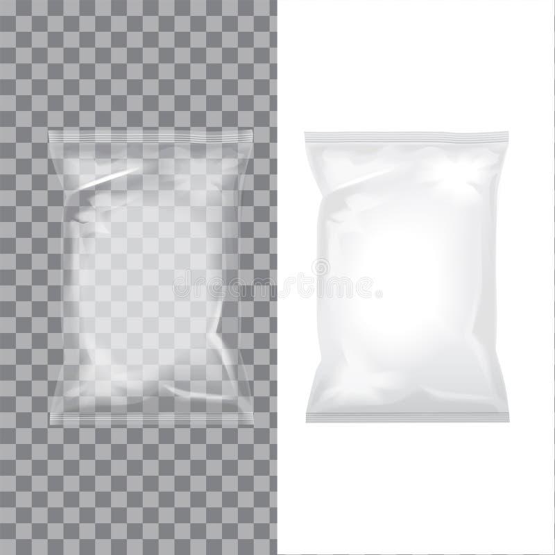 Satz transparente und weiße Folientaschenverpackung für Lebensmittel, Snack, Kaffee, Kakao, Bonbons, Cracker, Nüsse, Chips Vektor stock abbildung