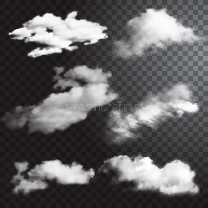 Satz transparente verschiedene Wolken Auch im corel abgehobenen Betrag lizenzfreie abbildung