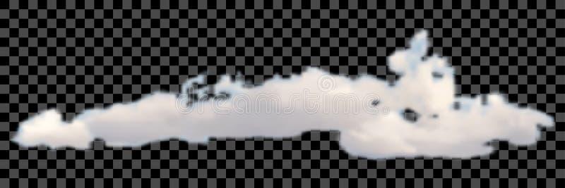 Satz transparente verschiedene Wolken auf schwarzem Vektor lizenzfreie abbildung