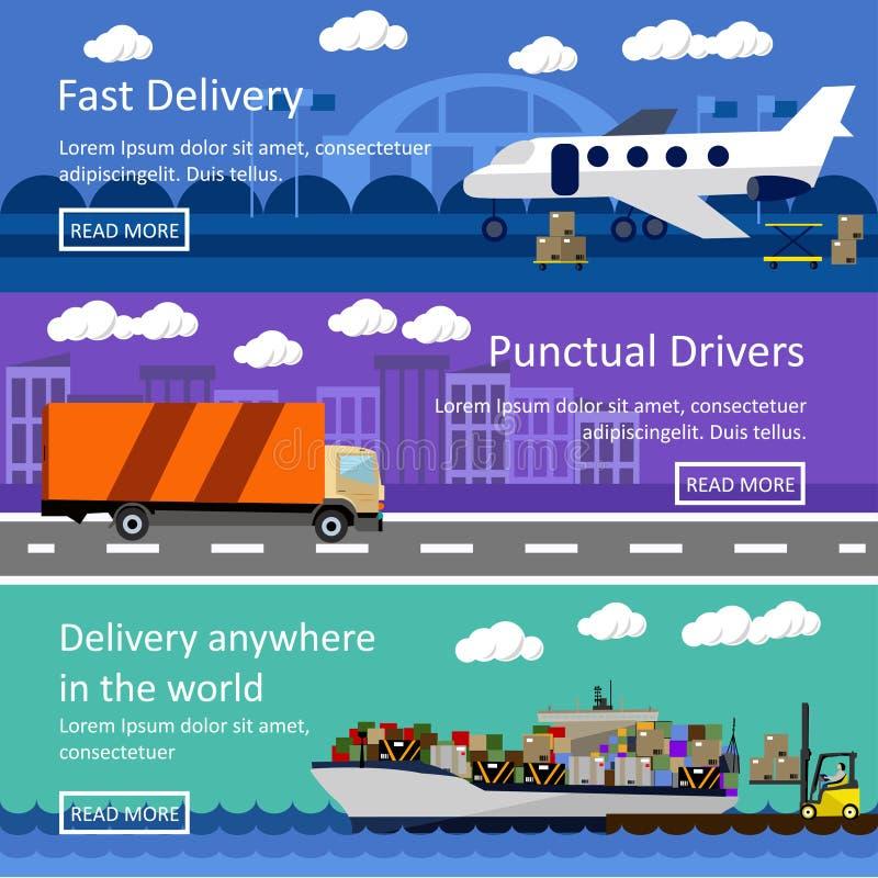 Satz Transportfahnen im flachen Artdesign Logistik- und Lieferungskonzeptvektorillustration vektor abbildung