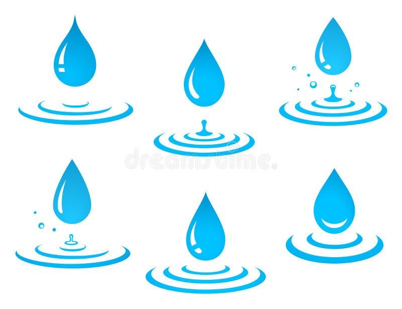 Satz Tropfen und Spritzen des blauen Wassers lizenzfreie abbildung