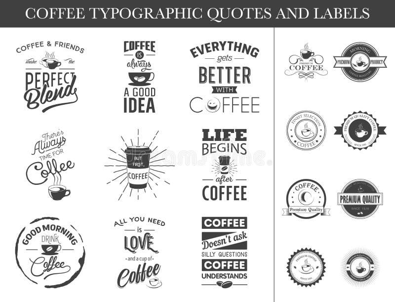 Satz typografische Zitate und Aufkleber stock abbildung