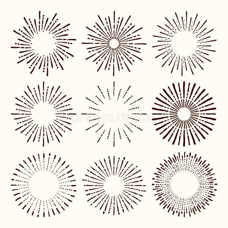 Satz und Sammlung modische Hand gezeichneter Retro- Sonnendurchbruch/Sprengung von Strahlngestaltungselementen lizenzfreie abbildung