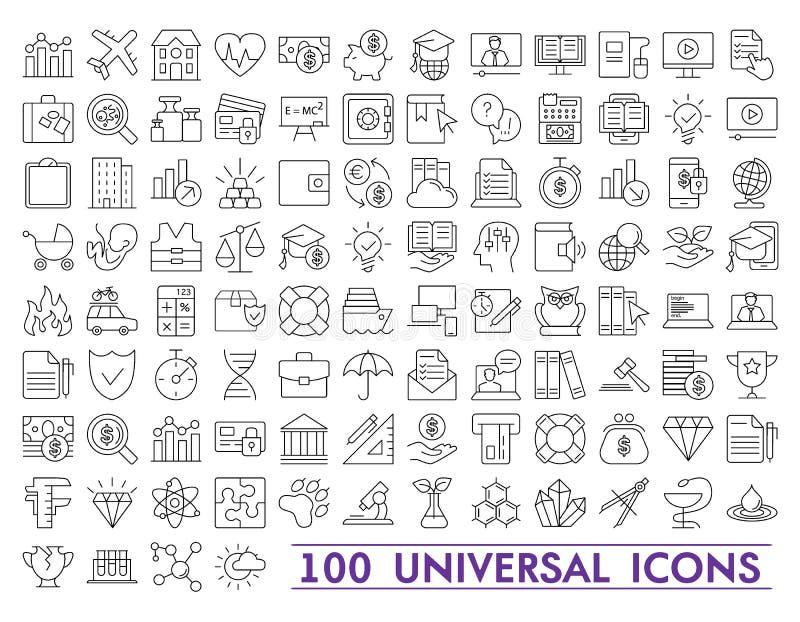 Satz Universalikonen für Netz und Mobile Großes Paket der modernen minimalistic, dünnen Linie Ikonen stock abbildung