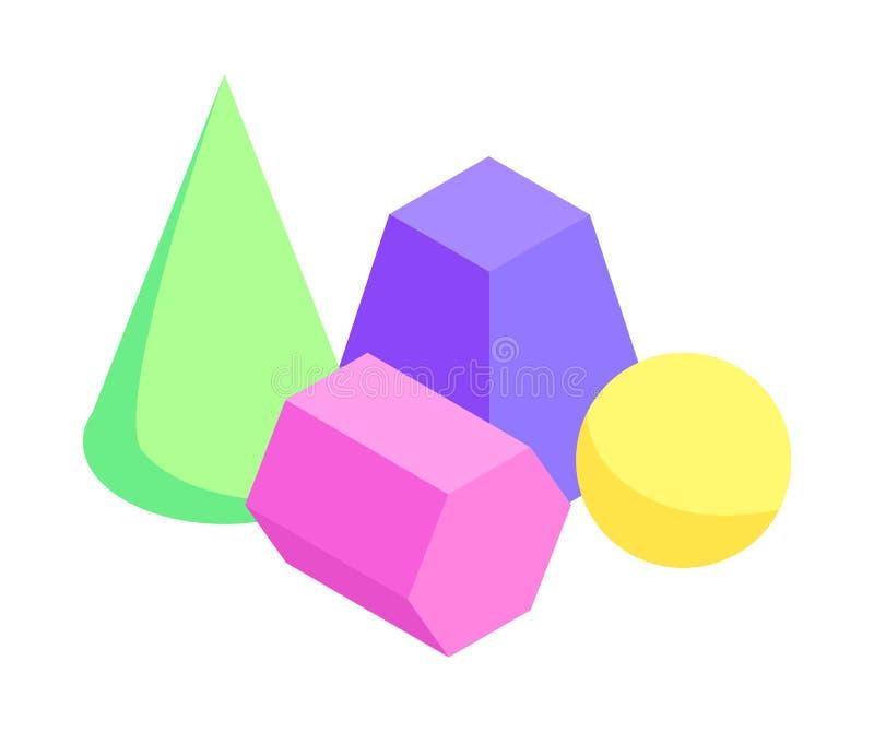 Satz unterschiedliche Farbgeometrische Zahlen Fahne vektor abbildung