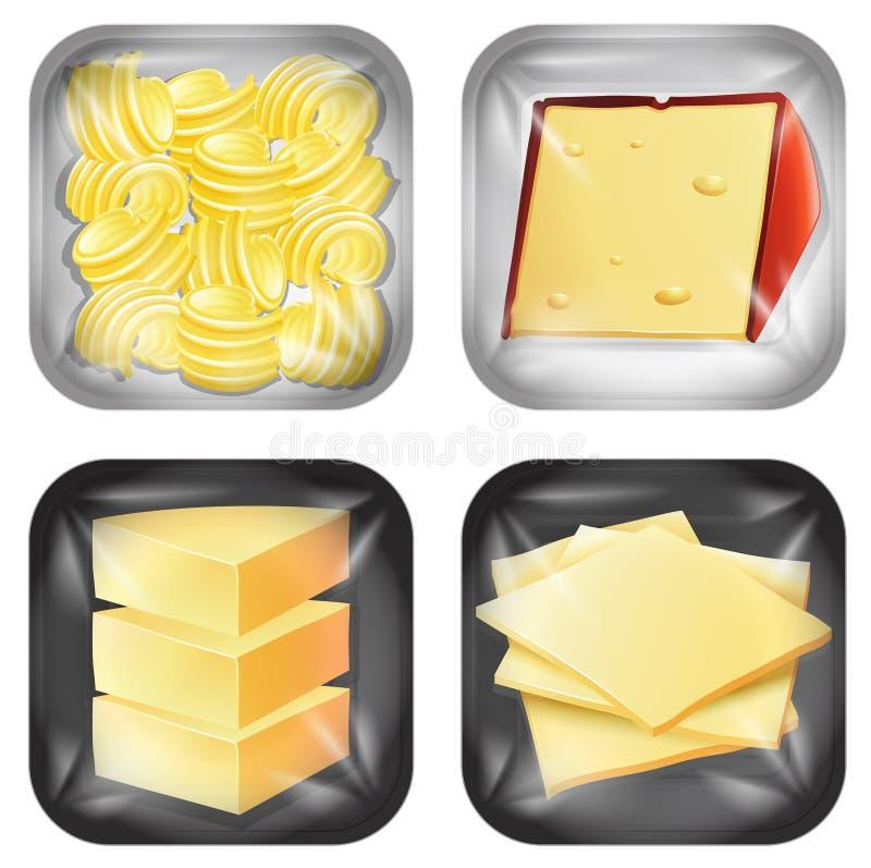 Satz unterschiedliche Molkerei verpacktes Lebensmittel vektor abbildung