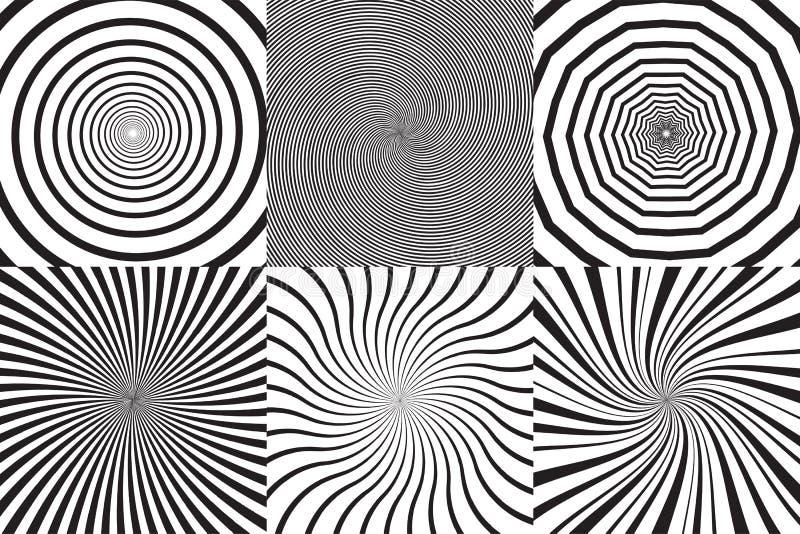 Satz unterschiedliche psychedelische Spirale, Turbulenz, Rotation Einfarbige Hintergrundsammlung des Vektors lizenzfreie abbildung