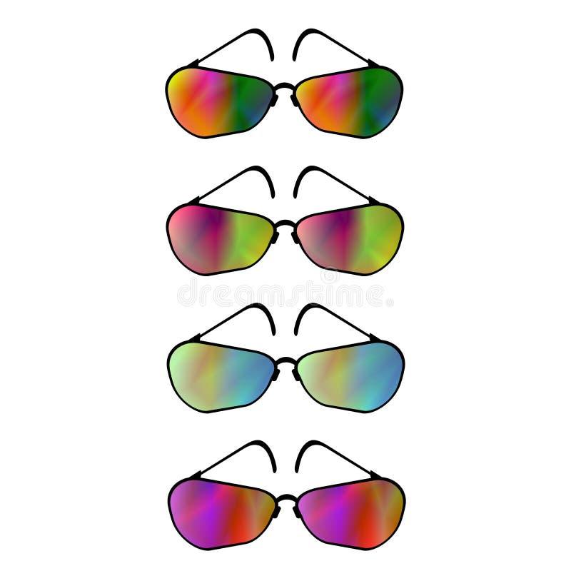 Satz unterschiedliche Sonnenbrille lizenzfreie stockfotos