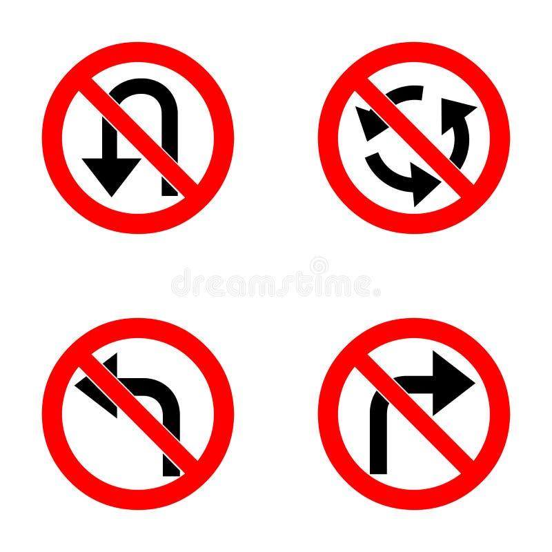 Satz Varianten eine Wende verboten - Verkehrsschild auf weißem Hintergrund Gruppe als von Türspion, einfach und von Schmutz stock abbildung