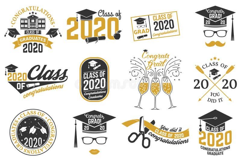 Satz Vector-Klasse mit 2020 Abzeichen Konzept für Hemd, Druck, Siegel, Overlay, Stempel, Gruß, Einladungskarte stock abbildung