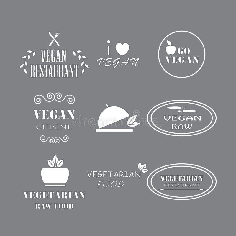 Satz vegetarisches gesundes Lebensmittel des Aufkleberfirmenstrengen vegetariers stockbilder