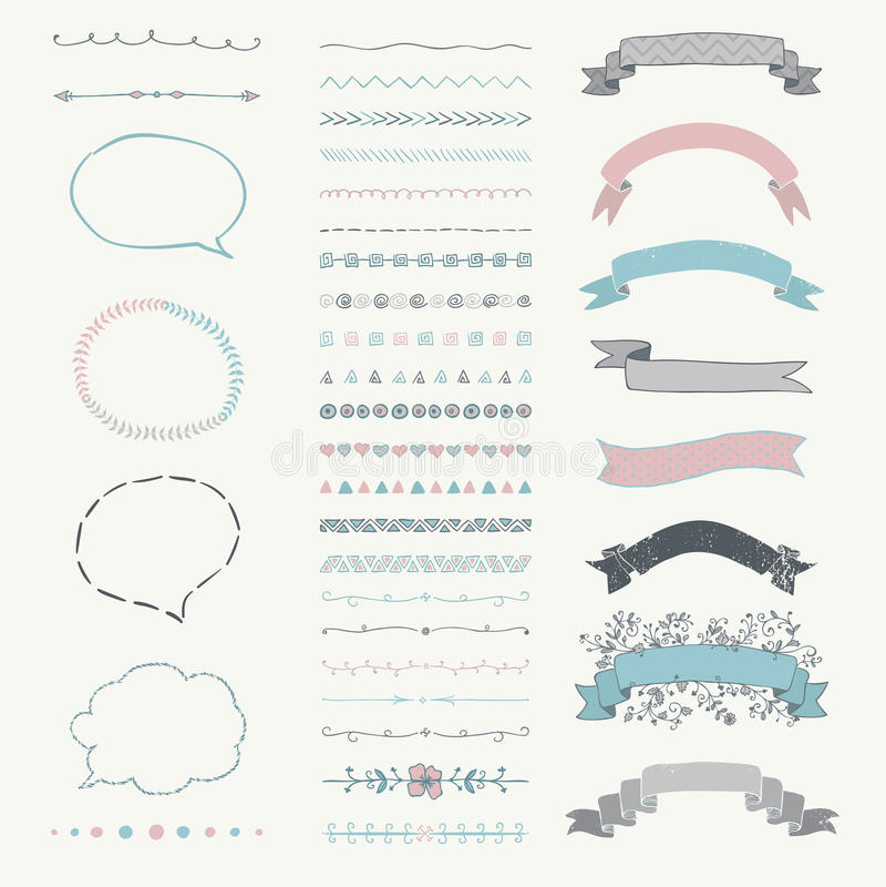 Satz Vektor-dekorative Hand gezeichnete Gestaltungselemente lizenzfreie abbildung