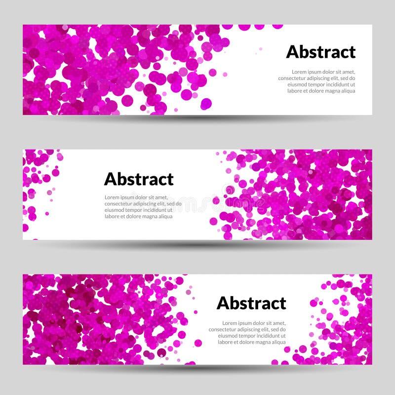 Satz Vektor-horizontale Plakat-Fahnen-Schablonen Mit Rosa Dots ...