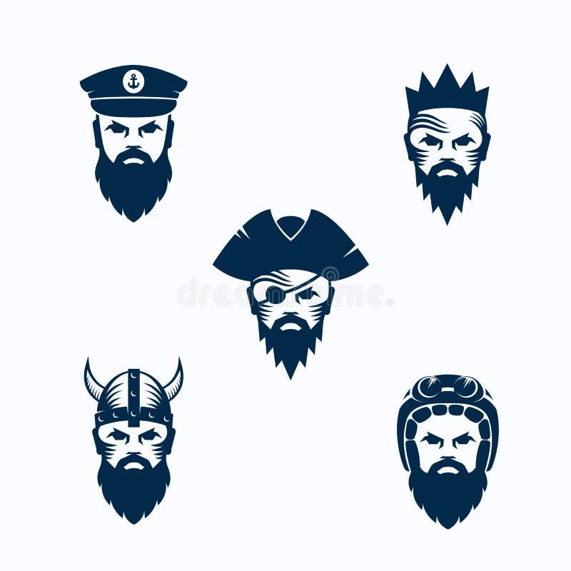 Satz Vektor-Mann-Gesichts-Schattenbilder Bärtige Gesichter des Kriegers, des Kapitäns, des Piraten, des Königs und des Radfahrers lizenzfreie abbildung