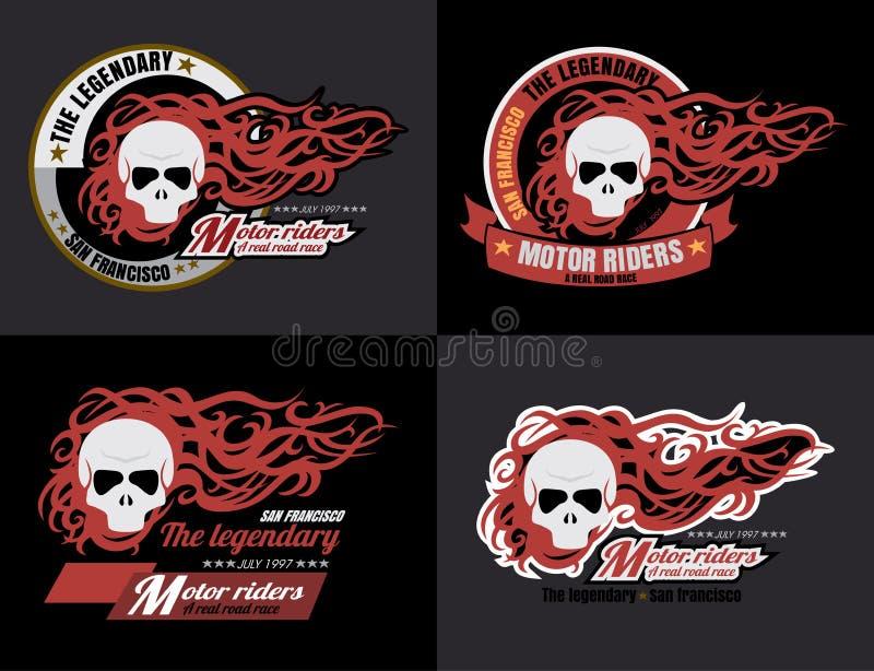 Satz Vektor Motorrad-Schädeltypographie, T-Shirt Grafiken, vec vektor abbildung