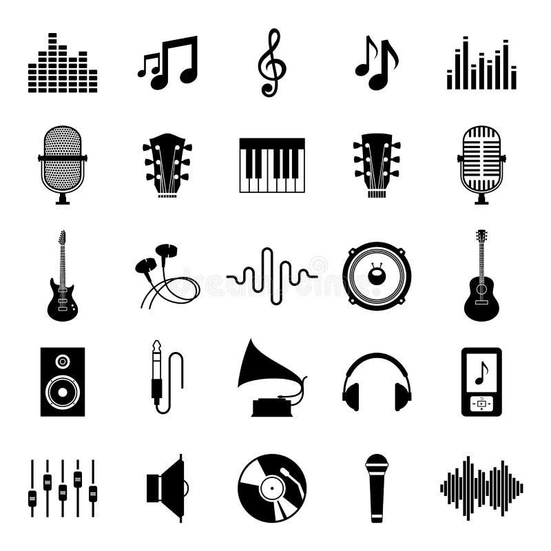Satz Vektor-Musik-Ikonen auf Weiß lizenzfreie abbildung