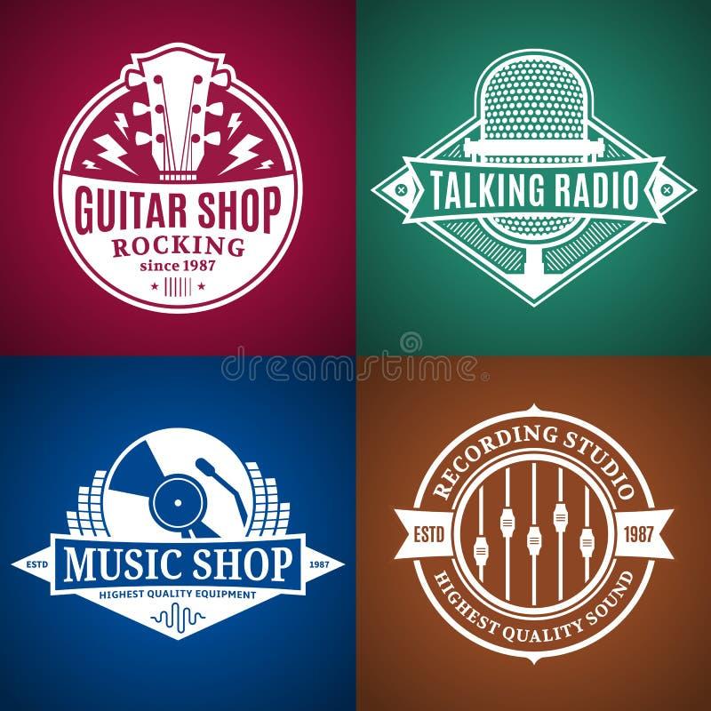 Satz Vektor-Musik-Logo, Ikonen und Gestaltungselemente lizenzfreie abbildung