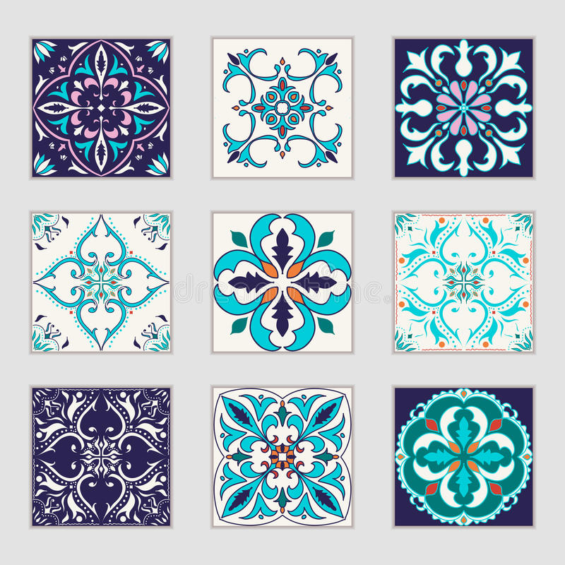 Satz Vektor Portugiesefliesen Schöne farbige Muster für Design und Mode mit dekorativen Elementen lizenzfreie abbildung