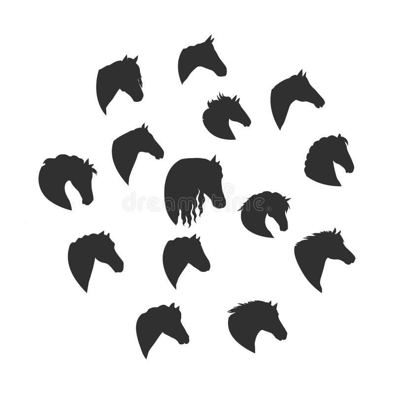 Satz Vektor-Schattenbilder von Pferdeköpfen lizenzfreie abbildung