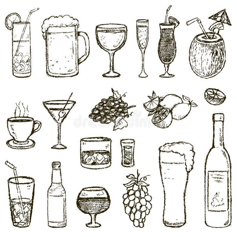 Satz Vektor Skizzen-Cocktails und Alkohol-Getränke stock abbildung