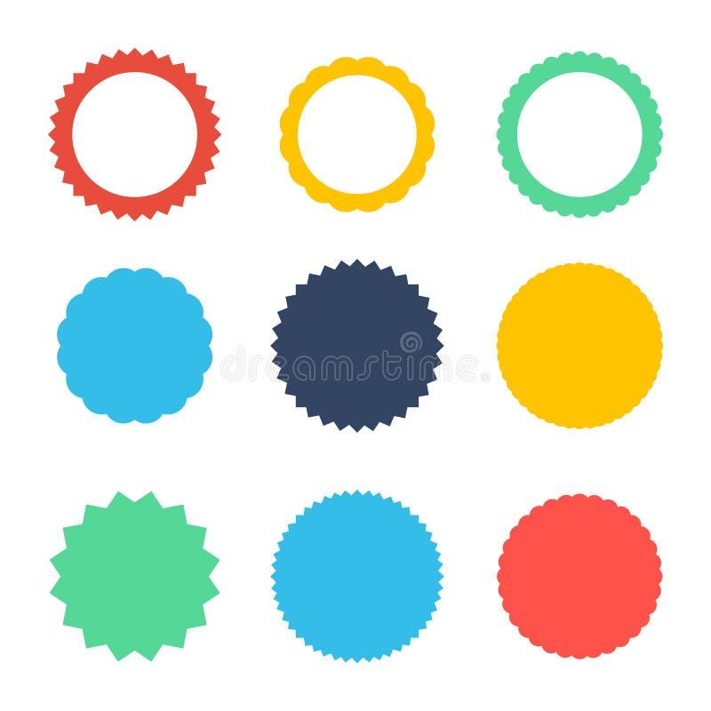 Satz Vektor starburst, Sonnendurchbruchausweise Ikonen auf weißem Hintergrund Einfache flache Art Weinleseaufkleber, Aufkleber vektor abbildung