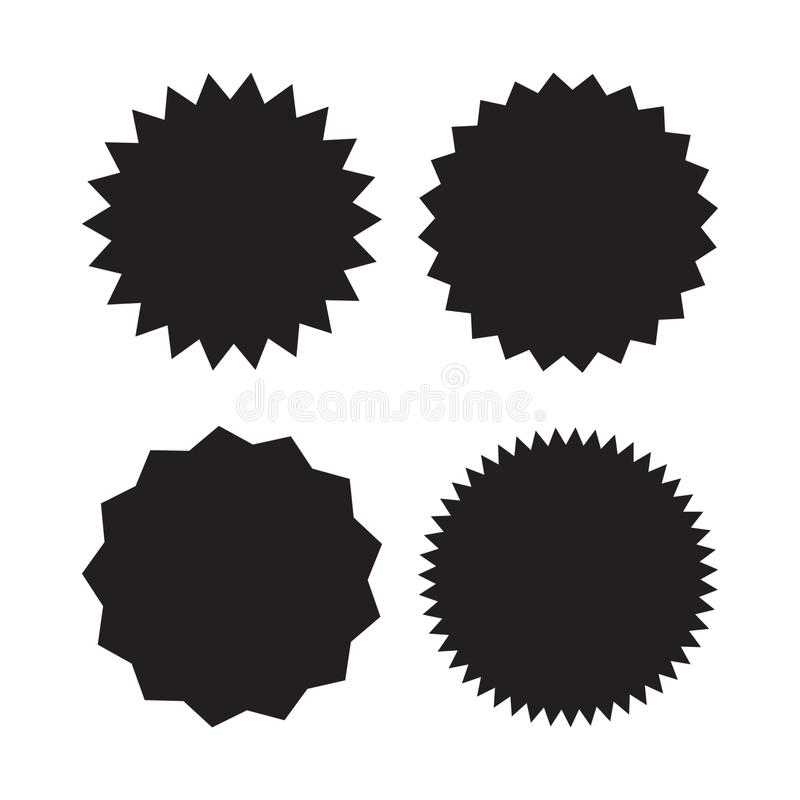 Satz Vektor starburst, Sonnendurchbruchausweise Schwarze Ikonen auf weißem Hintergrund Einfache flache Art Weinleseaufkleber, Auf vektor abbildung