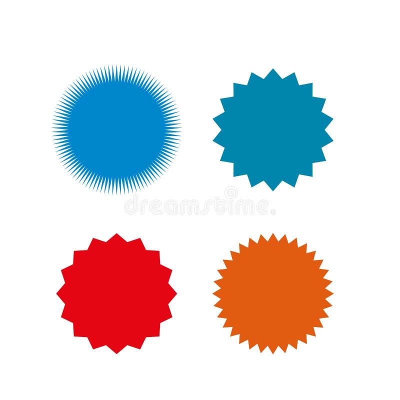 Satz Vektor starburst, Sonnendurchbruchausweise Unterschiedliche Farbe Einfache flache Art Weinleseaufkleber Farbige Aufkleber vektor abbildung