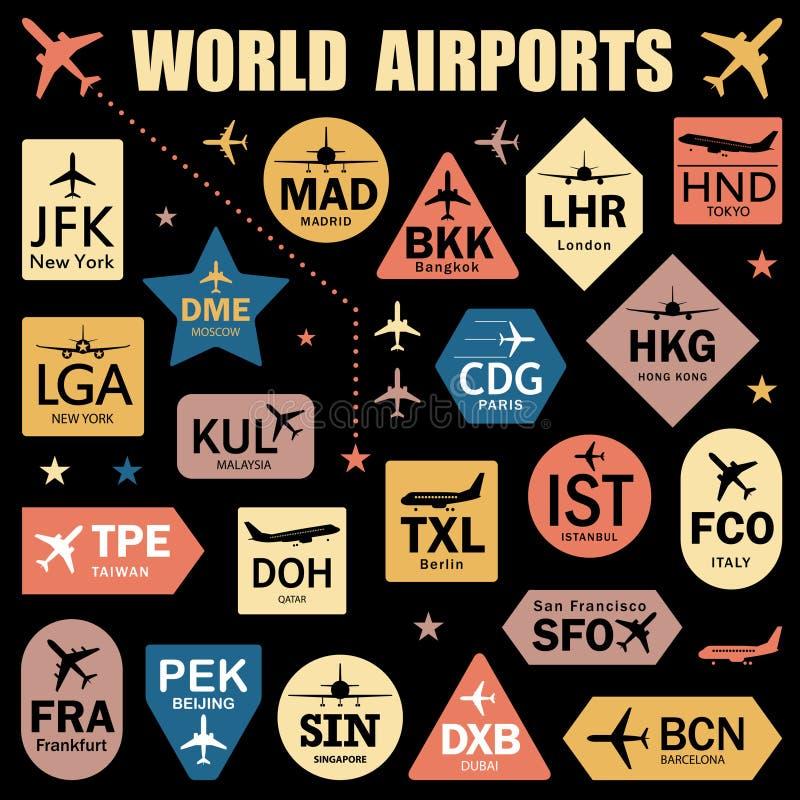 Satz Vektor-Tags mit Weltflughafen-Codes lizenzfreie abbildung