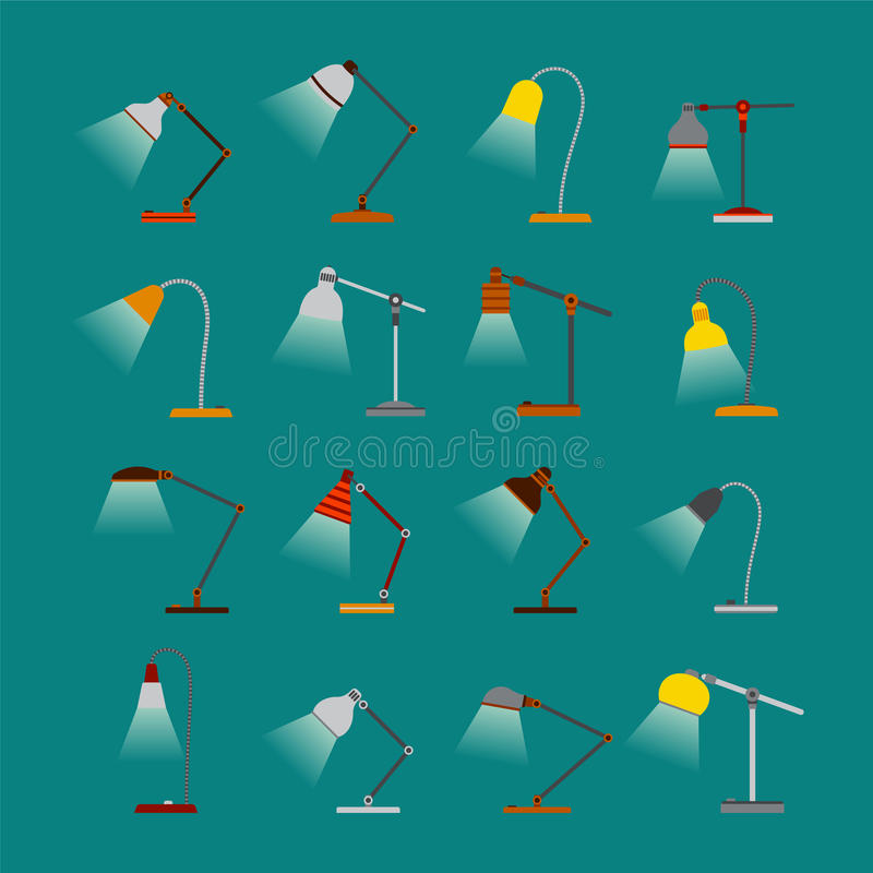 Satz Vektorbürotischlampen mit Licht in der flachen Art vektor abbildung
