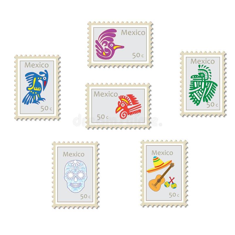 Satz VektorBriefmarken mit Symbolen und Zeichen von Mexiko stockbild