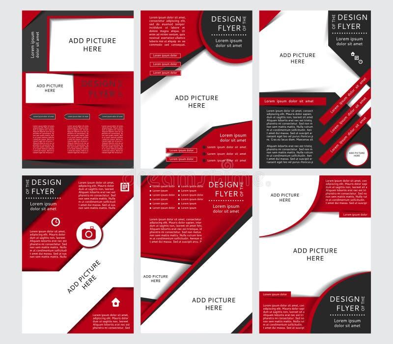 Satz Vektordesign der schwarzen und roten Flieger, Abdeckung, Broschüre, Plakat, Bericht mit Plätzen für Bilder stock abbildung