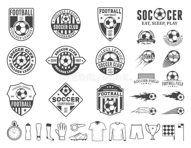 Satz Vektorfußballfußballvereinlogo und -ikonen lizenzfreie abbildung