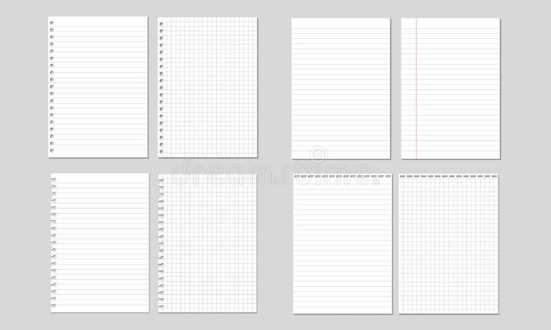 Satz Vektorillustrationen von den Blättern Papier gezeichnet und quadratisch, stock abbildung