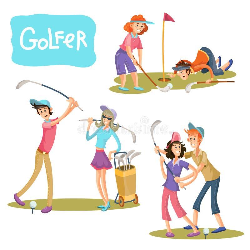 Satz Vektorillustrationen von Golfspielen stock abbildung
