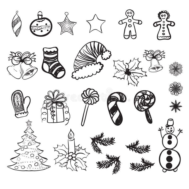 Satz Vektorillustrationen von Weihnachtsgekritzeln lizenzfreie abbildung